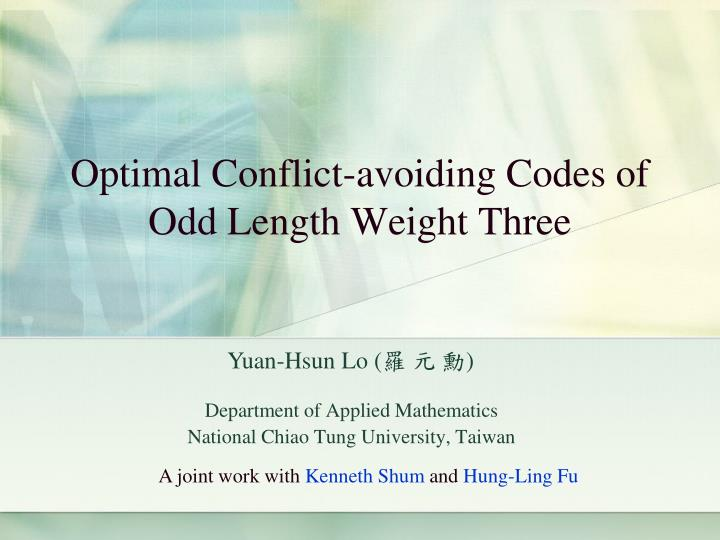 Optimal conflict avoiding codes of odd length weight three