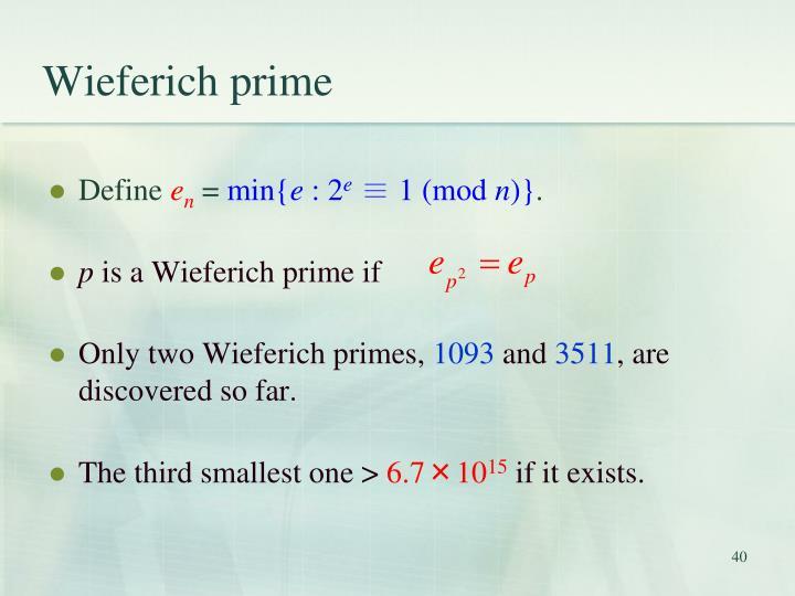 Wieferich prime