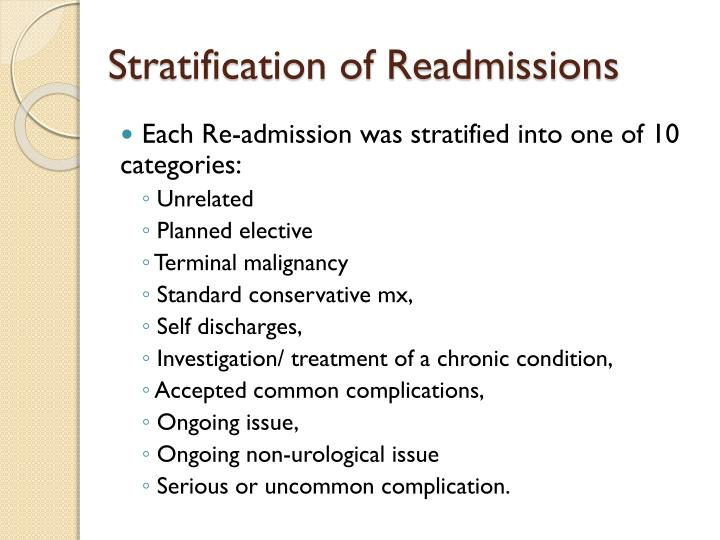 Stratification of Readmissions