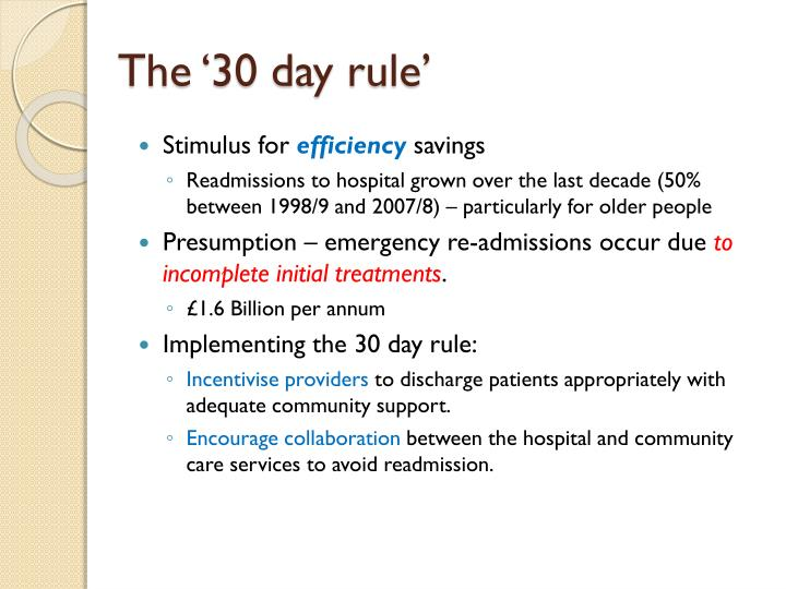 The '30 day rule'