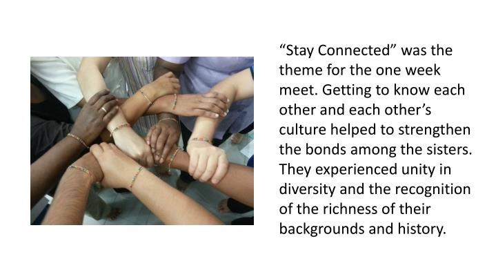 """Stay Connected"" was the theme for the one week meet. Getting to know each other and each other's culture helped to strengthen the bonds among the sisters. They experienced unity in diversity and the recognition of the richness of their backgrounds and history."