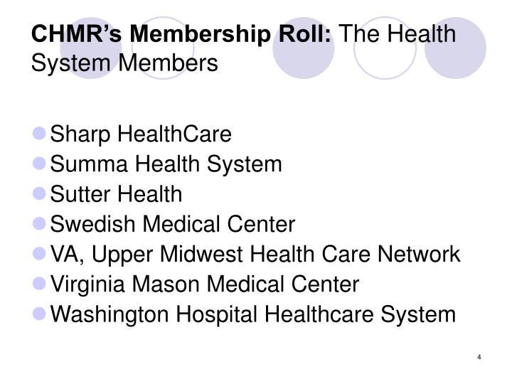 CHMR's Membership Roll: