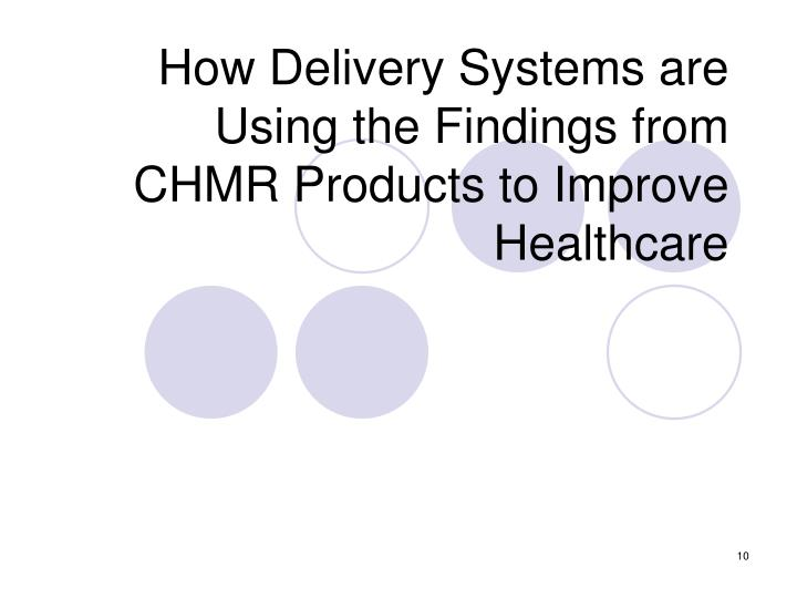 How Delivery Systems are Using the Findings from CHMR Products to Improve Healthcare