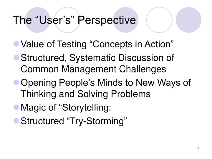 "The ""User's"" Perspective"