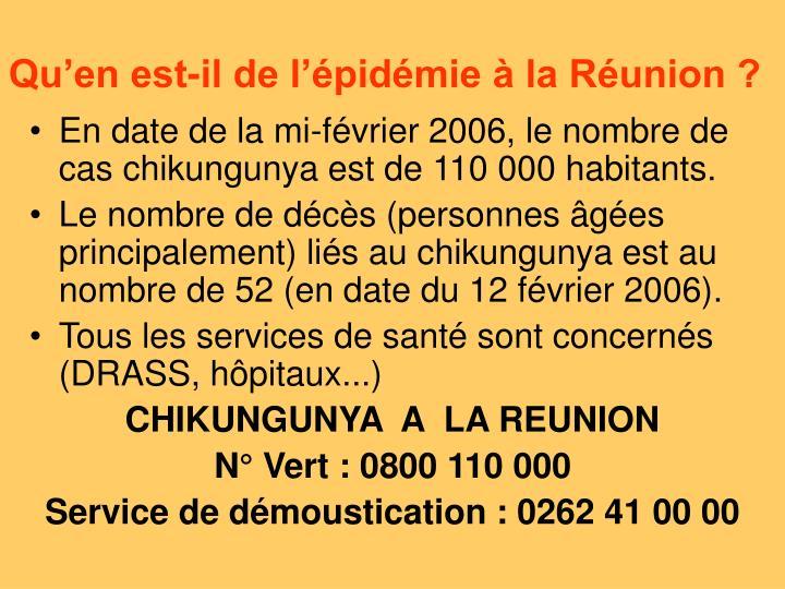 Qu'en est-il de l'épidémie à la Réunion ?