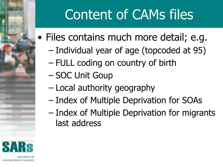 Content of CAMs files