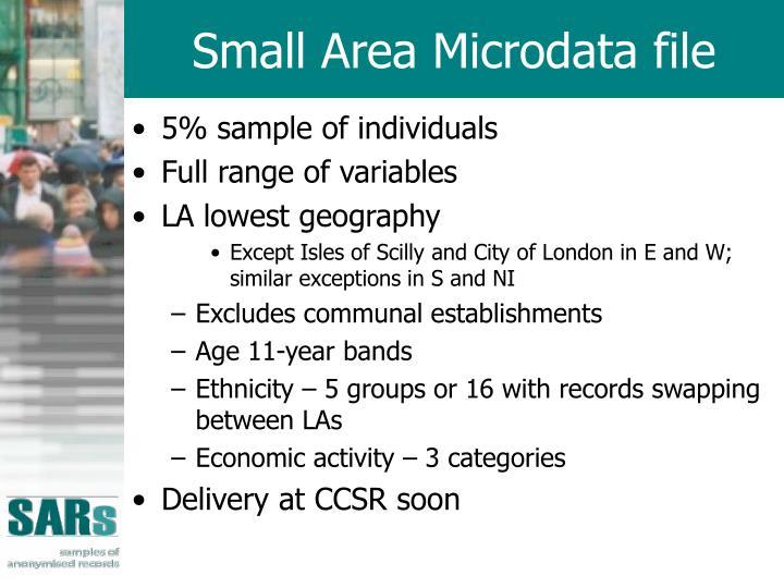 Small Area Microdata file