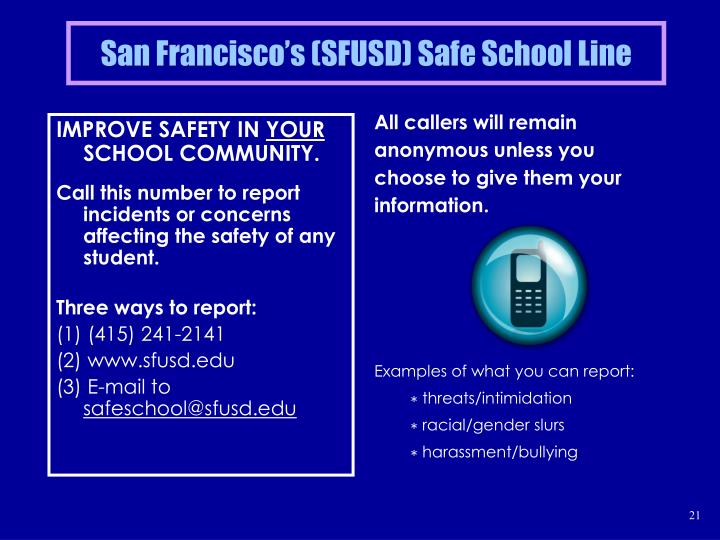 San Francisco's (SFUSD) Safe School Line