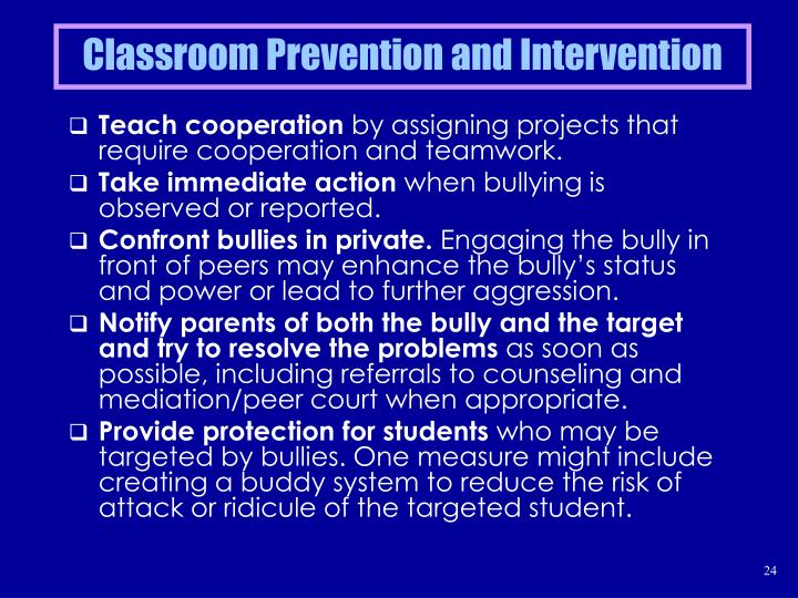 Classroom Prevention and Intervention