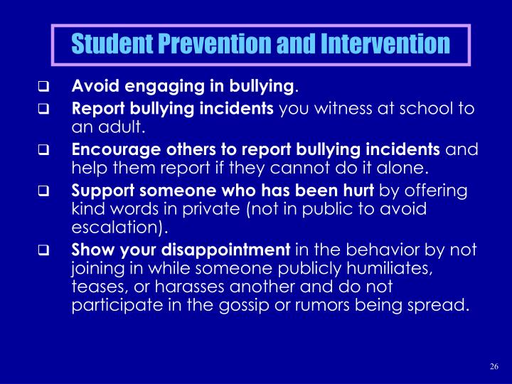 Student Prevention and Intervention