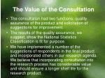 the value of the consultation