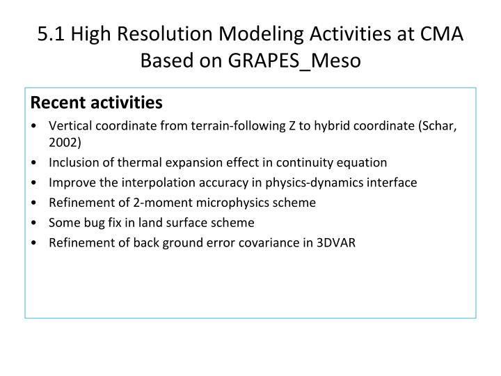5.1 High Resolution Modeling Activities at CMA