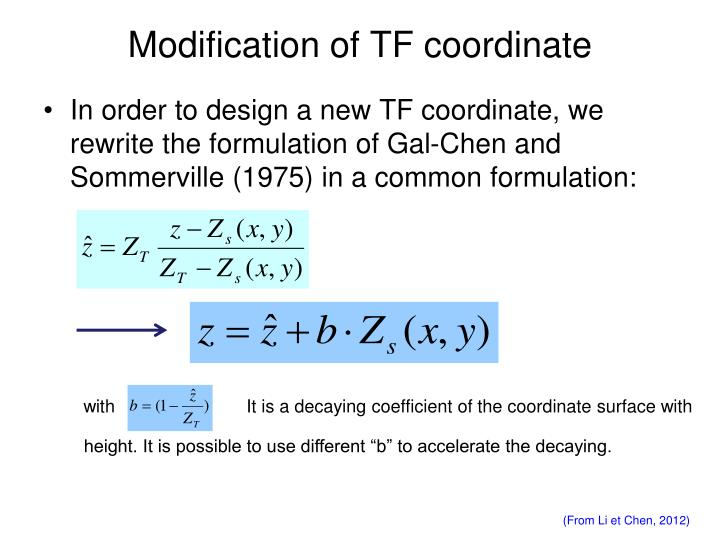 Modification of TF coordinate