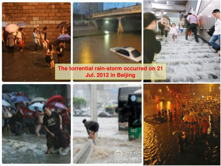 The torrential rain-storm occurred on 21 Jul. 2012 in Beijing