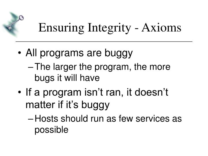 Ensuring Integrity - Axioms