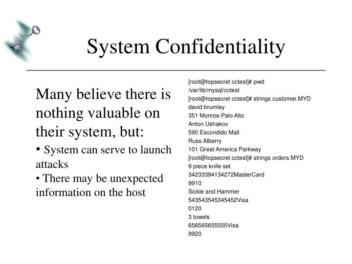 System Confidentiality