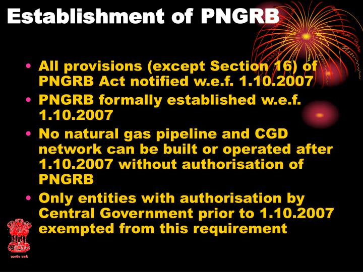 Establishment of PNGRB