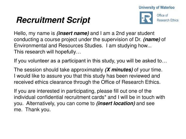 Recruitment Script