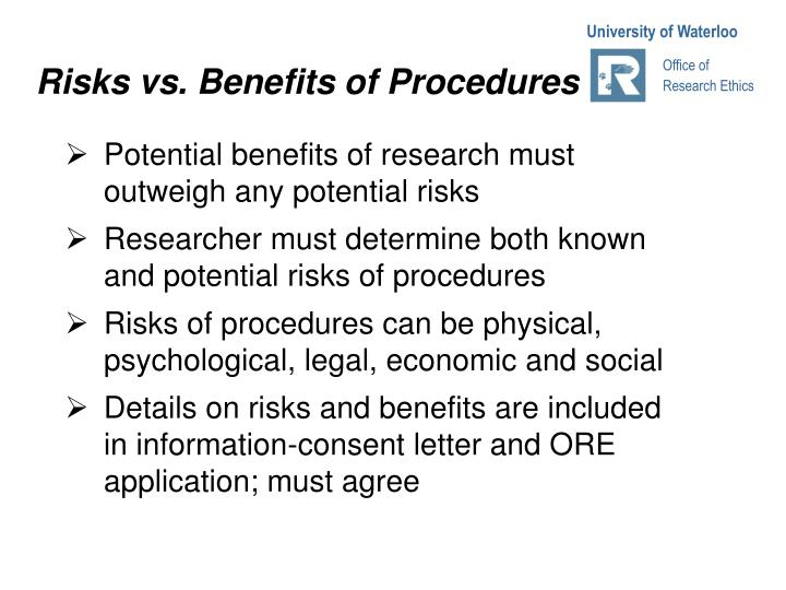 Risks vs. Benefits of Procedures