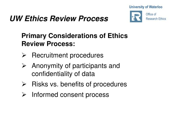 UW Ethics Review Process