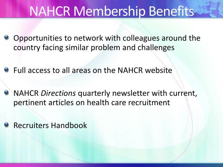 NAHCR Membership Benefits