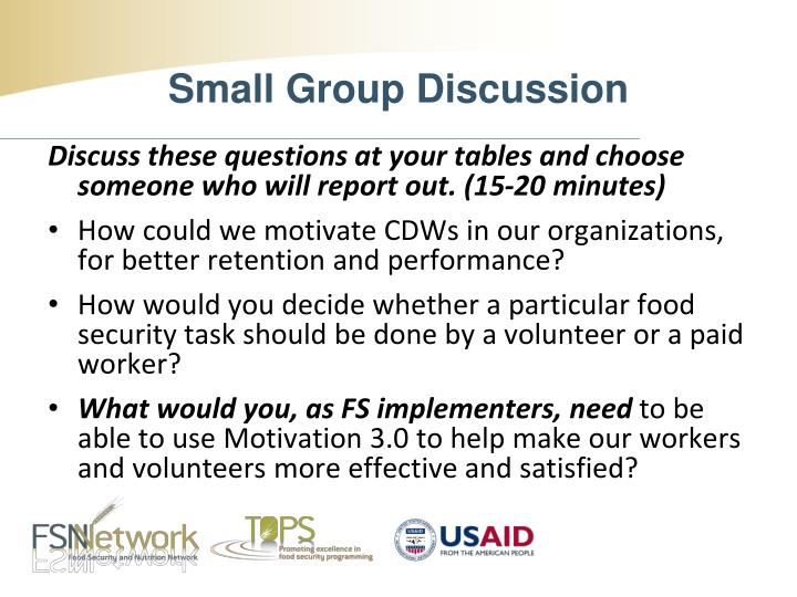 Discuss these questions at your tables and choose someone who will report out. (15-20 minutes)