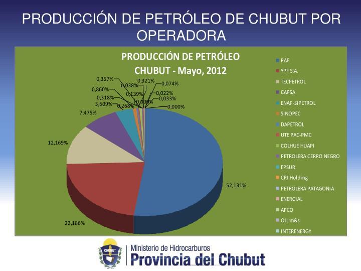 PRODUCCIÓN DE PETRÓLEO DE CHUBUT POR OPERADORA