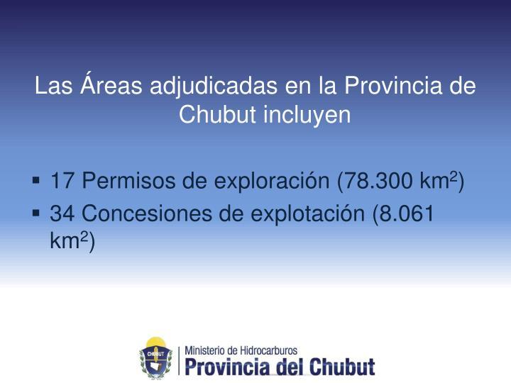 Las Áreas adjudicadas en la Provincia de Chubut incluyen
