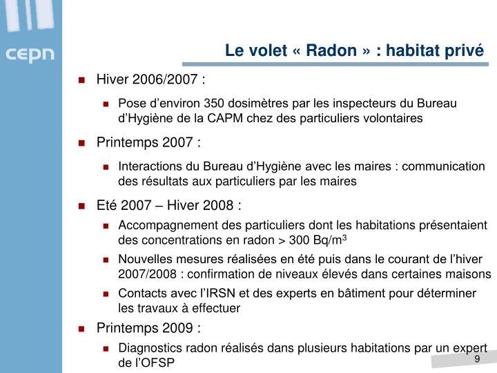Le volet «Radon» : habitat privé