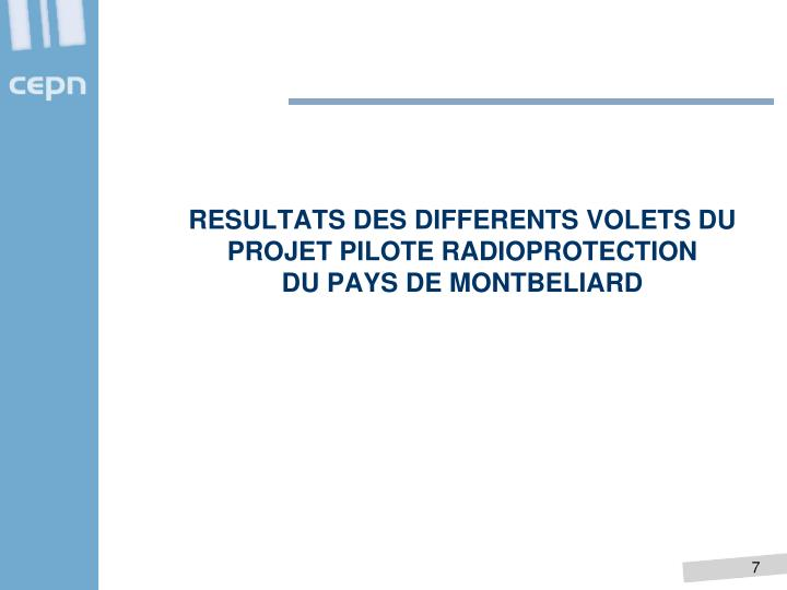 RESULTATS DES DIFFERENTS VOLETS DU PROJET PILOTE RADIOPROTECTION