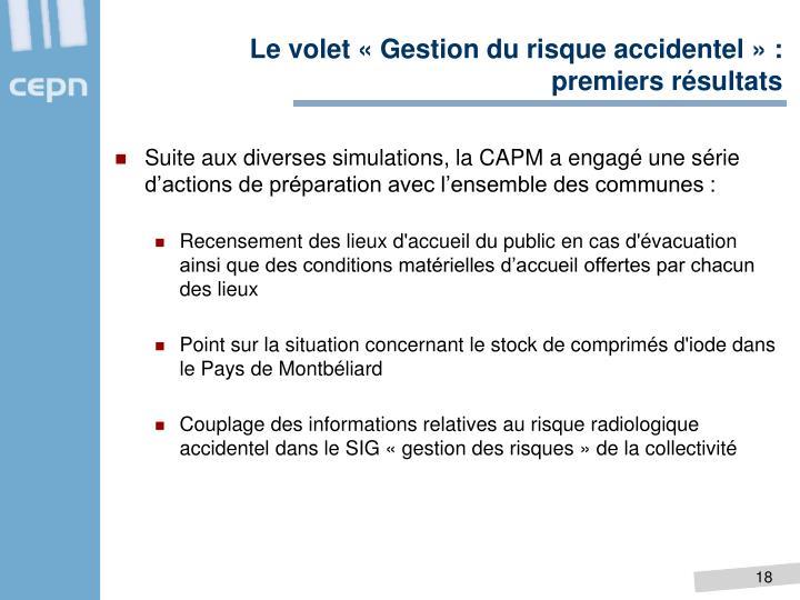 Le volet «Gestion du risque accidentel» :
