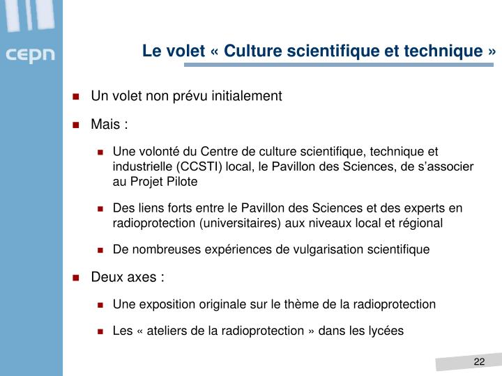 Le volet « Culture scientifique et technique »