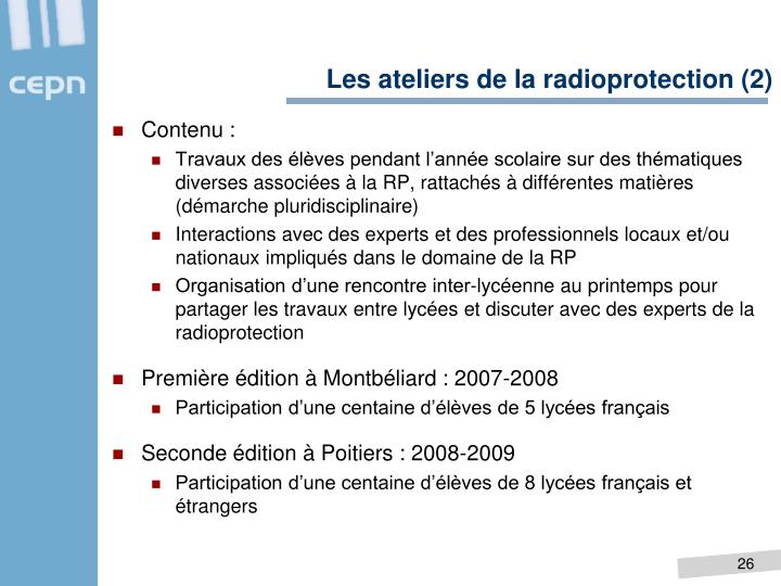 Les ateliers de la radioprotection (2)