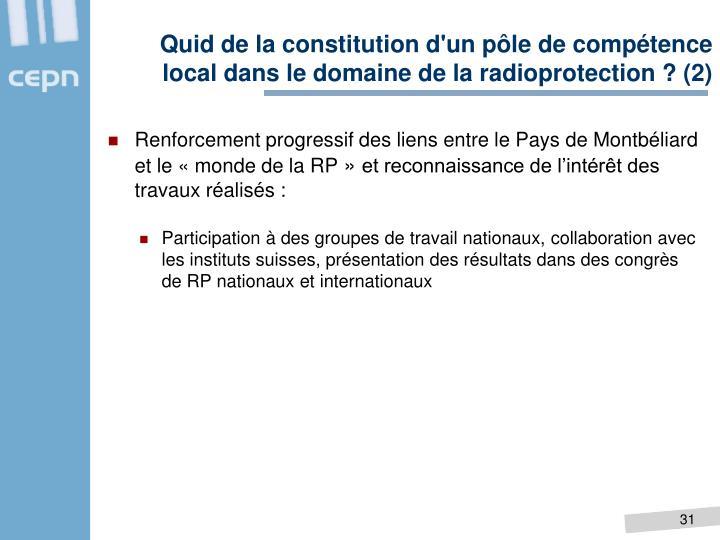 Quid de la constitution d'un pôle de compétence local dans le domaine de la radioprotection ? (2)