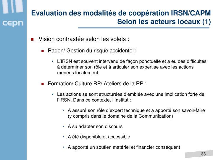 Evaluation des modalités de coopération IRSN/CAPM