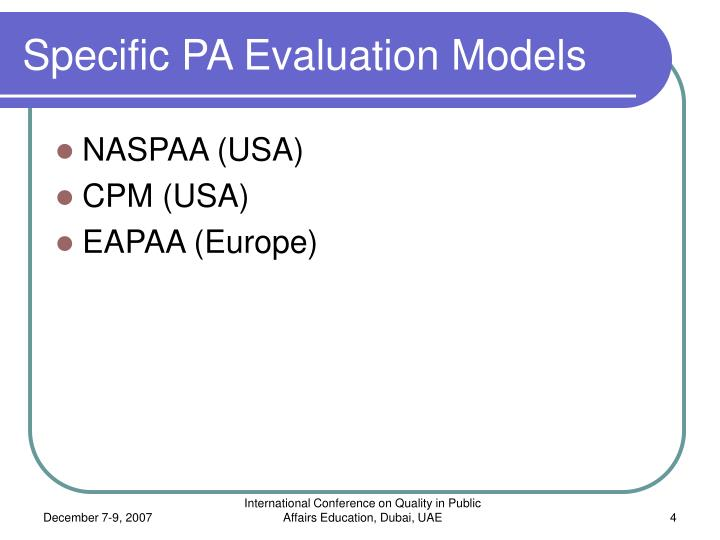 Specific PA Evaluation Models