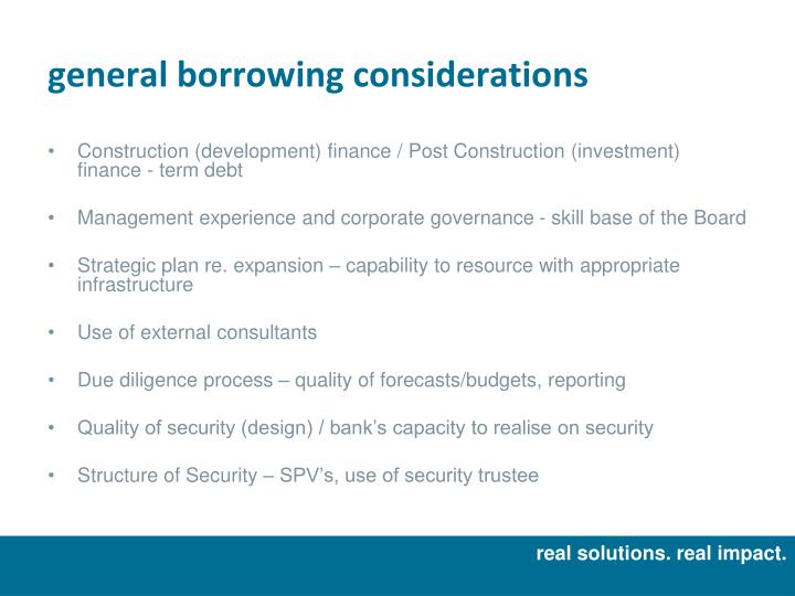 general borrowing considerations