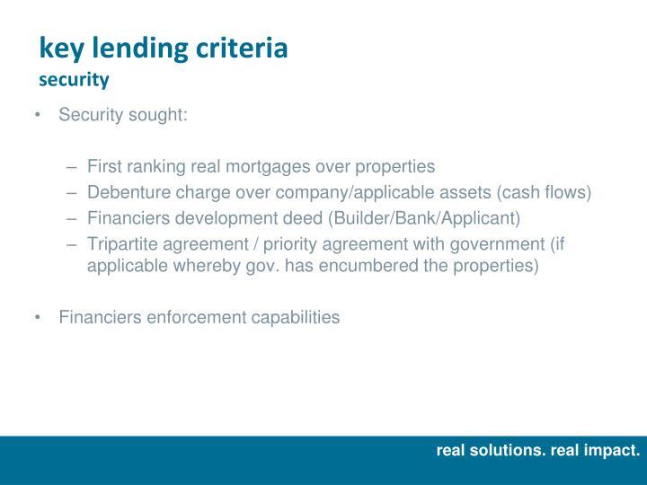 key lending criteria