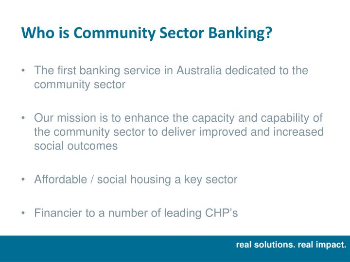 Who is community sector banking