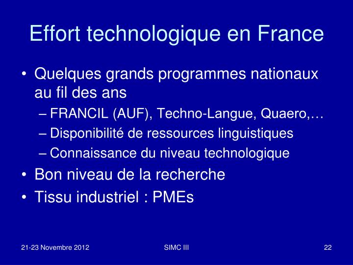 Effort technologique en France