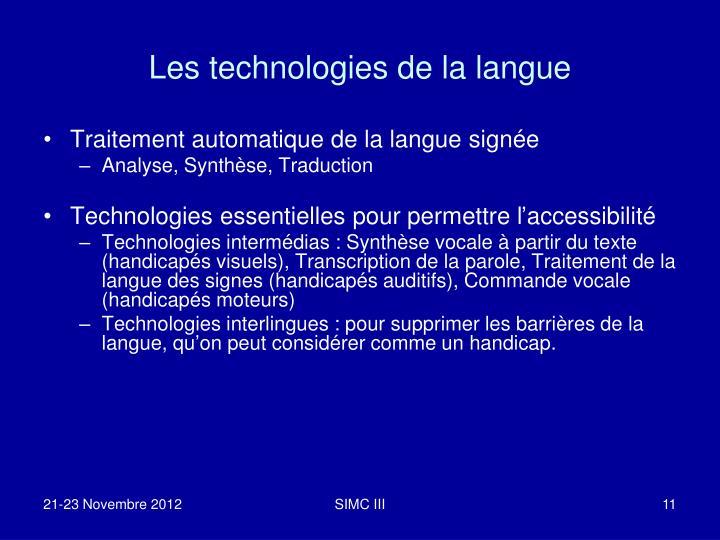 Les technologies de la langue