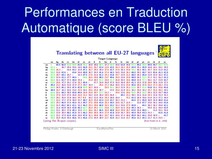 Performances en Traduction Automatique