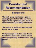 corridor list recommendation