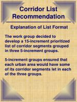 corridor list recommendation1