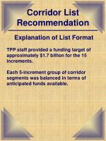 corridor list recommendation2