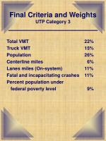 final criteria and weights utp category 3