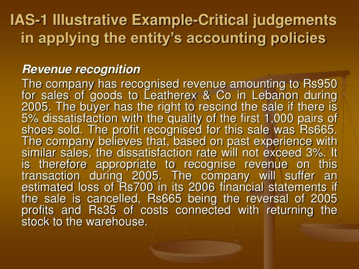 Ias 1 illustrative example critical judgements in applying the entity s accounting policies