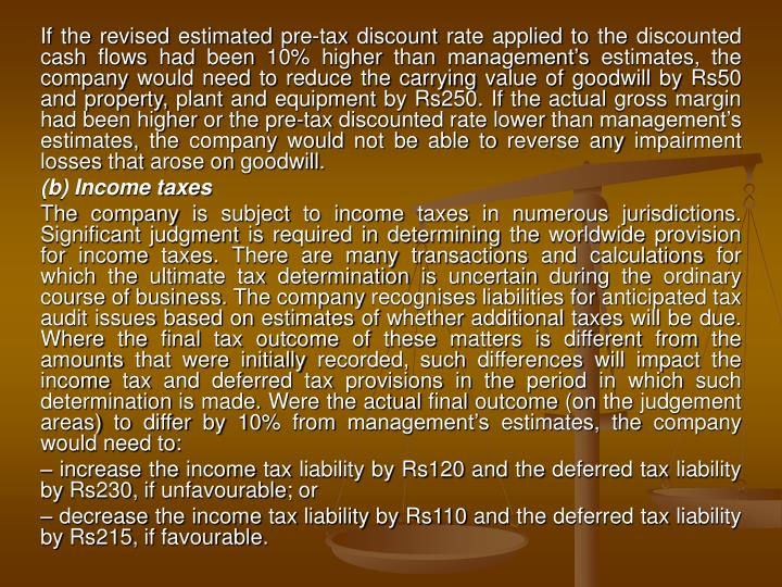 If the revised estimated pre-tax discount rate applied to the discounted cash flows had been 10% hig...
