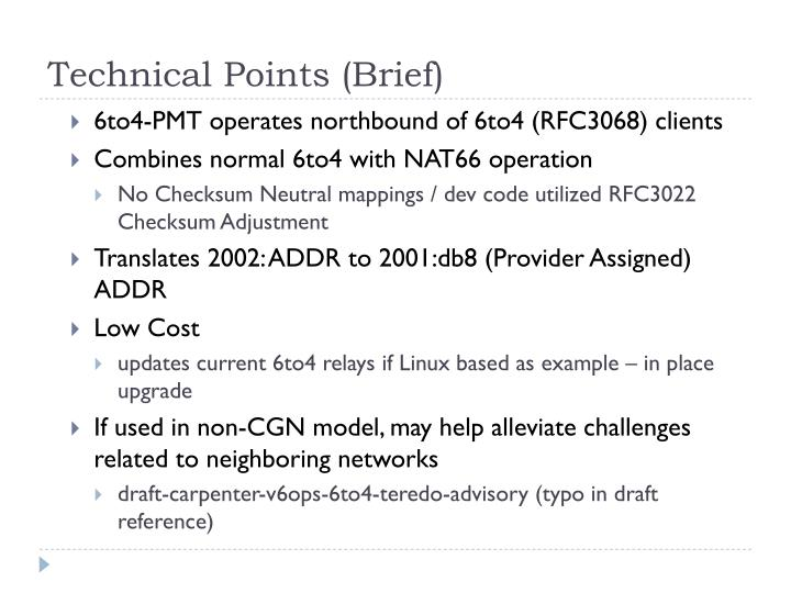 Technical Points (Brief)