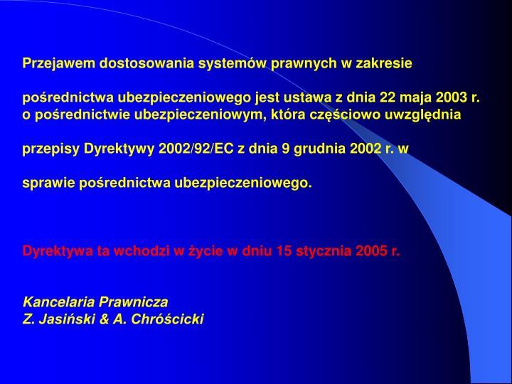 Przejawem dostosowania systemów prawnych w zakresie